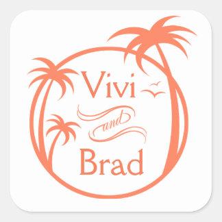 Beach Surf Palm Logo | peach Square Sticker