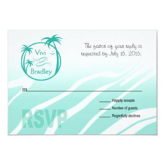 Beach Surf Palm Logo RSVP | aqua 3.5x5 Paper Invitation Card