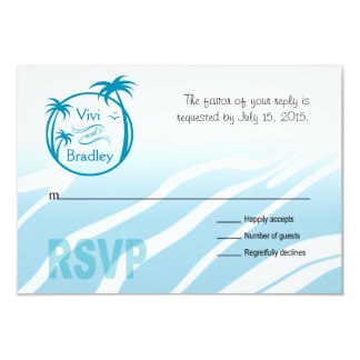 Beach Surf Palm Logo RSVP   blue 3.5x5 Paper Invitation Card