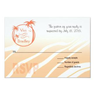 Beach Surf Palm Logo RSVP | peach 3.5x5 Paper Invitation Card