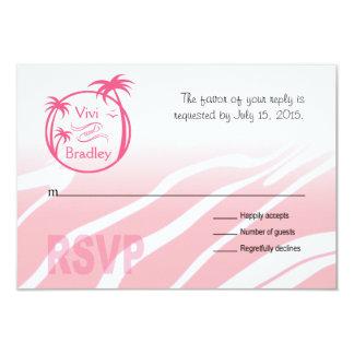 Beach Surf Palm Logo RSVP | pink 3.5x5 Paper Invitation Card