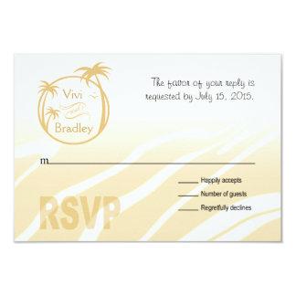 Beach Surf Palm Logo RSVP | sand 3.5x5 Paper Invitation Card