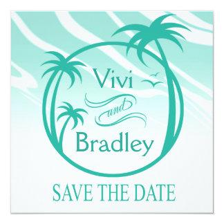 Beach Surf Palm Logo Save the Date | aqua 5.25x5.25 Square Paper Invitation Card