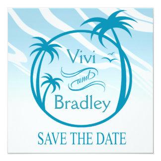 Beach Surf Palm Logo Save the Date | blue 5.25x5.25 Square Paper Invitation Card