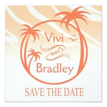 Beach Themed Beach Surf Palm Logo Save the Date   peach Card