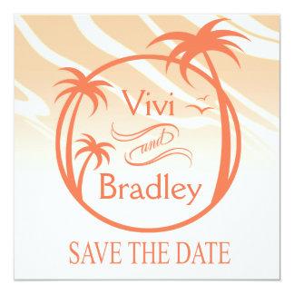 Beach Surf Palm Logo Save the Date | peach 5.25x5.25 Square Paper Invitation Card
