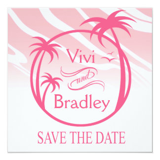 Beach Surf Palm Logo Save the Date | pink 5.25x5.25 Square Paper Invitation Card