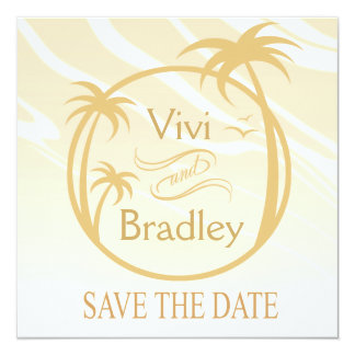 Beach Surf Palm Logo Save the Date | sand 5.25x5.25 Square Paper Invitation Card