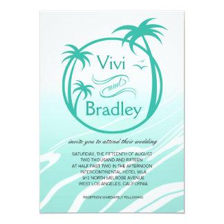 Beach Surf Palm Logo Wedding | aqua 5x7 Paper Invitation Card