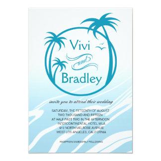 Beach Surf Palm Logo Wedding | blue Card