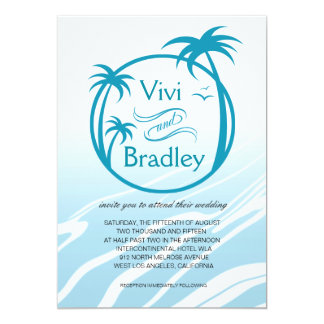 Beach Surf Palm Logo Wedding | blue 5x7 Paper Invitation Card