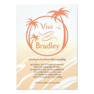 Beach Surf Palm Logo Wedding | peach 5x7 Paper Invitation Card
