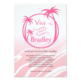 Beach Surf Palm Logo Wedding | pink 5x7 Paper Invitation Card