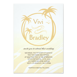 Beach Surf Palm Logo Wedding | sand 5x7 Paper Invitation Card