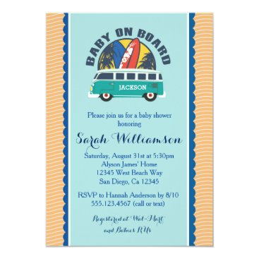 Beach Themed Beach Surf Surfboard Baby Boy Shower Invitation