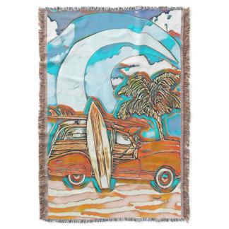 Beach Surfboards Woodie Throw