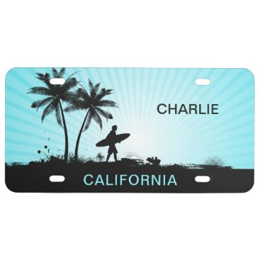 Beach Themed Beach Surfer custom name & location license plate