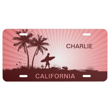 Beach Surfer custom name & location license plate