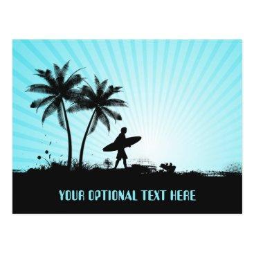 Beach Themed Beach Surfer custom text postcard