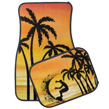 Hawaiian Themed Beach Surfing Hawaiin Scenic Design Car Floor Mat