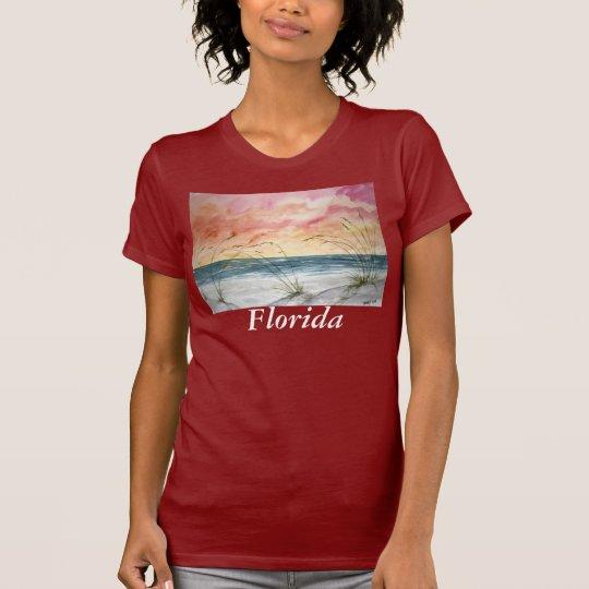 beach t shirt ladies red, Florida