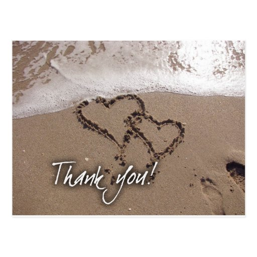 Beach thank you card post cards