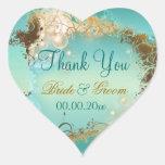 "Beach ""thank you"" wedding aqua white heart sticker"