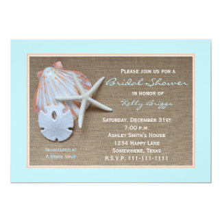 Beach Theme Bridal Shower Invitation -- Burlap