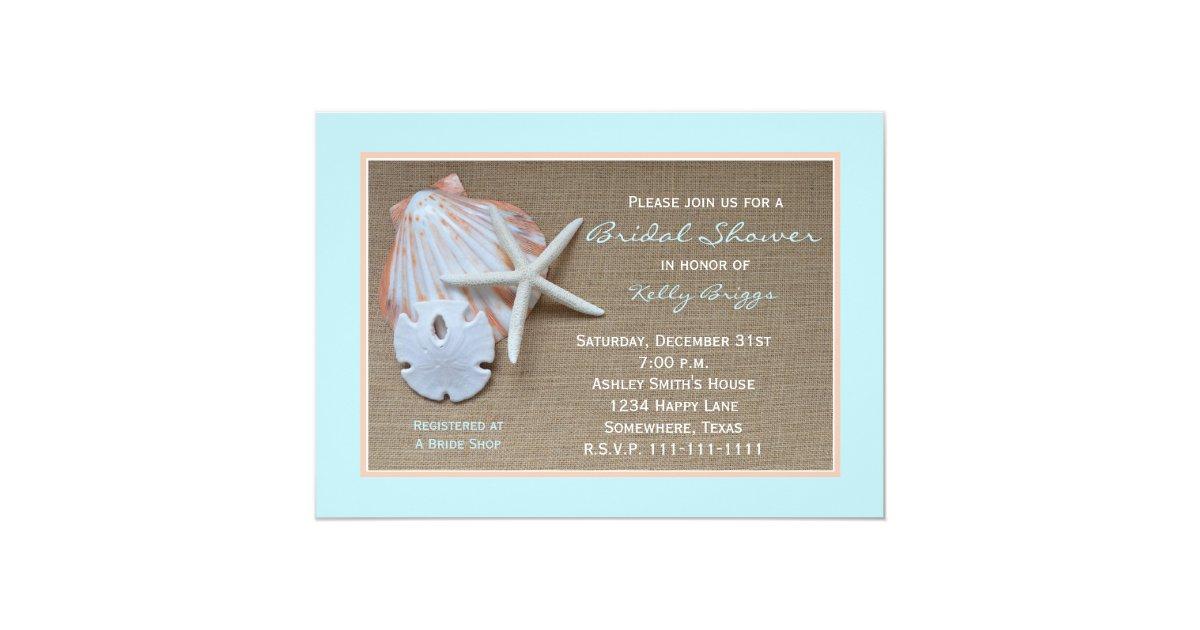 Beach theme bridal shower invitation burlap zazzle for Themed bridal shower invitations