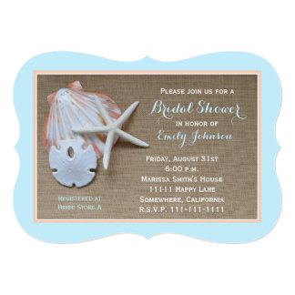 Beach Theme Bridal Shower Invitation Burlap Look