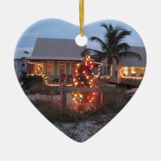 Beach theme Christmas Ceramic Ornament