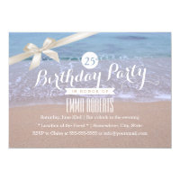 Beach Theme Classy Ivory Ribbon Birthday Party Card
