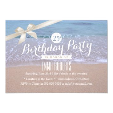 myinvitation Beach Theme Classy Ivory Ribbon Birthday Party Card