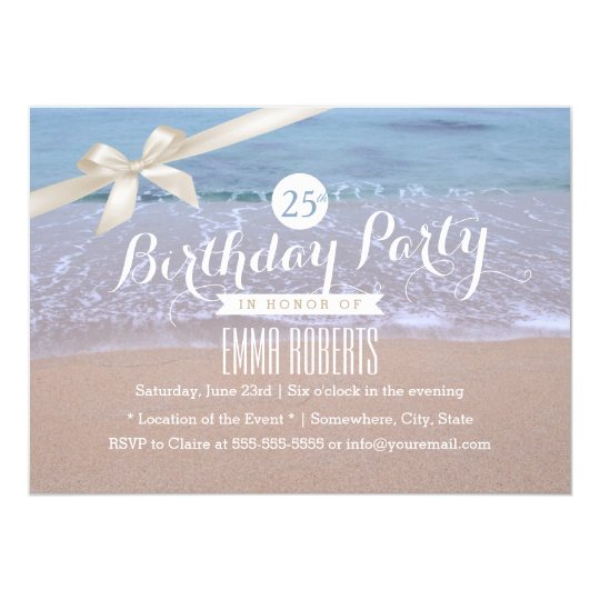 Beach Theme Classy Ivory Ribbon Birthday Party Invitation
