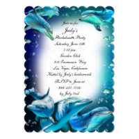 Beach Theme Dolphin Wedding Bachelorette Party Invitation