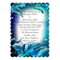 Beach Theme Dolphin Wedding Invitation