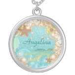 Beach theme elegant turtle birthday round pendant necklace