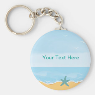 The Beach is My Happy Place Keychain SMALL Beach Keychain Travel Gift Beach Keyring Sandals Keychain Flip Flops Keychain Starfish Keychain