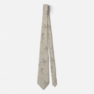 Beach Theme Linen Look Neck Tie