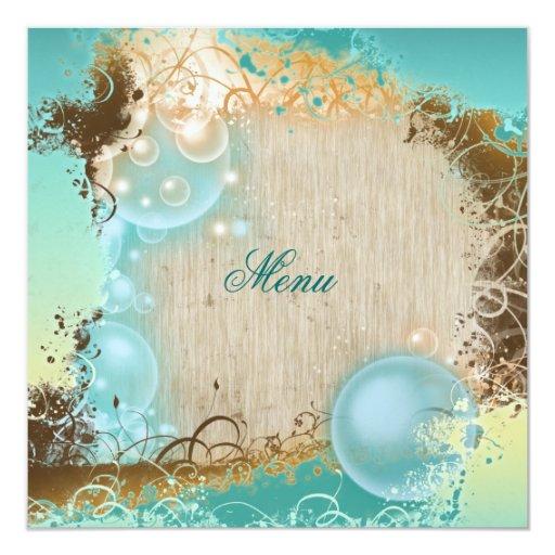 Beach theme menu elegant party invitations
