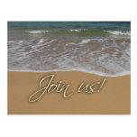 Beach theme party invitation postcard