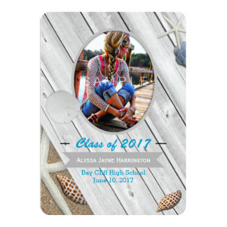 Beach Theme Photo Graduation Announcement Card