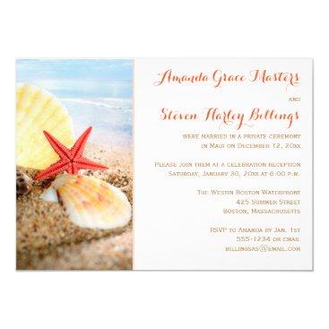 SwanRiverDesign Beach Theme Post Wedding Reception Only Invite