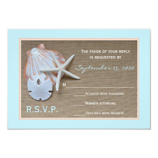 "Beach Theme RSVP Wedding Invitation 3.5"" X 5"" Invitation Card"