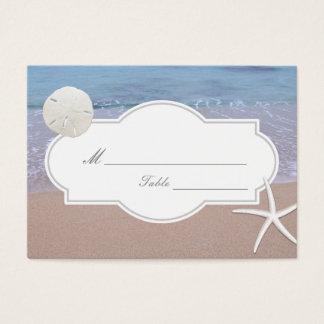 Beach Theme Sand Dollar & Starfish Wedding Seating Business Card