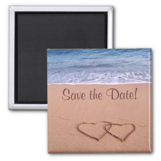 Beach theme save the date! 2 inch square magnet