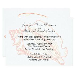 Beach Theme Seashell Wedding Invitation