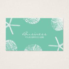 Beach Theme Seashells Stylish Mint Green Business Card at Zazzle