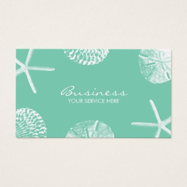 Beach Themed Beach Theme Seashells Stylish Mint Green Business Card