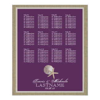 Beach Theme Seat Chart with Changeable Color Poster